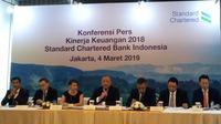 Paparan kinerja Standard Chartered Bank Indonesia, di Hotel Raflles Jakarta (4/3/2019).