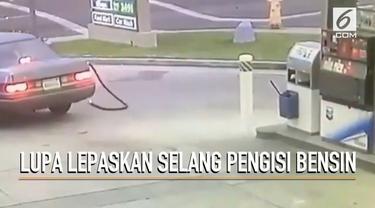 Seorang wanita lupa melepaskan selang pengisi bensin hingga terputus. Parahnya sang pengemudi tidak merasa bersalah dan kabur.