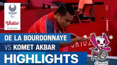 Berita video highlights laga Grup A Tenis Meja tunggal putra kelas 10 Paralimpiade Tokyo 2020, di mana wakil Indonesia, Komet Akbar, mengalahkan atlet Prancis pada Jumat (27/8/2021) siang hari WIB.