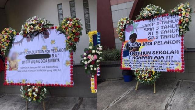 Viral Karangan Bunga Berisi Sindiran Pedas Untuk Pelakor Di Acara Wisuda Citizen6 Liputan6 Com