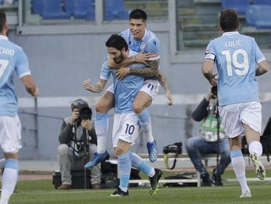 Kemenangan ini menggeser sementara posisi Juventus dan mengangkat Lazio ke posisi empat dengan 43 poin dari 23 pertandingan. (Foto: AP/Gregorio Borgia)