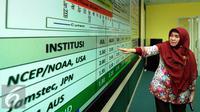 Kepala Bidang Informasi Iklim BKMG, Evi Lutfiati memberikan perbandingan prediksi El Nino di gedung BMKG, Jakarta, Jumat (7/8/2015). BMKG memprediksi disebagian wilayah Indonesia akan kekeringan hingga Desember mendatang. (Liputan6.com/Helmi Fithriansyah)