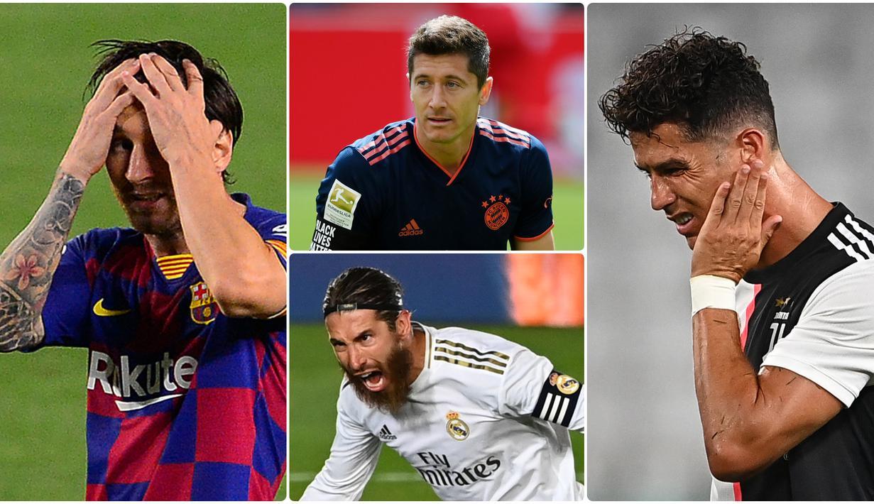 Penghargaan Ballon d'Or terpaksa tidak diselenggarkan akibat pandemi virus corona, hal ini merugikan pemain yang sudah menunjukkan performa impresif pada musim 2019-2020. Berikut 6 pemain yang dirugikan akibat batalnya Ballon d'Or 2020. (kolase foto AFP)