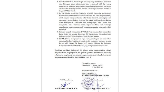 Penelusuran klaim MUI menerbitkan surat seruan untuk ulama menolak rapid test