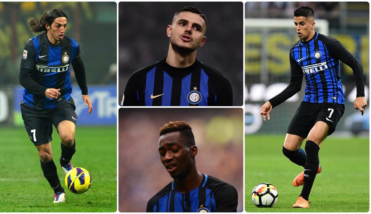 Inter Milan memberikan nomor punggung 7 kepada Mauro Icardi pada musim ini. Icardi diprediksi akan memiliki nasib yang sama dengan tuan-tuan dari nomor tersebut sebelumnya. Berikut Icardi dan 7 pemain bernomor punggung 7 terakhir di Inter Milan. (Kolase foto AFP)