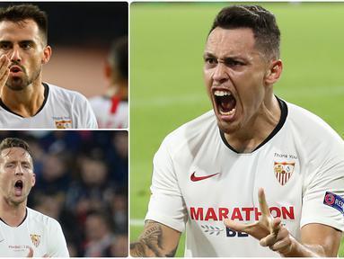 Sevilla akan menghadapi Inter Milan pada laga final Liga Europa 2019/2020 ini. Berjumpa dengan Inter Milan, Sevila memiliki sejumlah pemain yang mampu menghacurkan mimpi wakil Italia itu untuk meraih trofi juara Liga Europa musim ini. (kolase foto AFP)