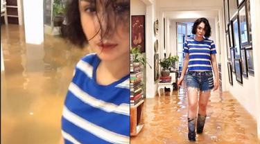 7 Gaya Yuni Shara saat Kebanjiran, Outfitnya Curi Perhatian