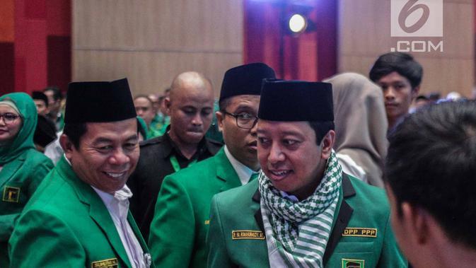 Ketua Umum PPP M. Romahurmuziy menghadiri Rapat Pimpinan Nasional (Rapimnas) IV dan Workshop Nasional Anggota DPRD PPP di Jakarta, Selasa (26/2). Kegiatan Rapimnas tersebut dilaksanakan pada 26-28 Februari 2019. (Liputan6.com/Faizal Fanani)