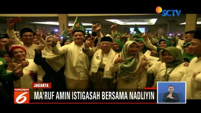 Pada akhir pekan, Ma'ruf Amin istigasah bersama warga Nadliyin sedangkan Sandiaga Uno promosikan OK OCE di Bali.
