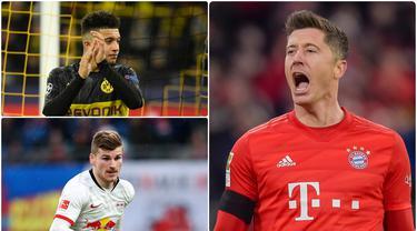 Robert Lewandowski kian perkasa di puncak top skor Bundesliga 2019/2020. Gol tunggal ke gawang Werder Bremen menjadi gol ke-31 miliknya di kompetisi Bundesliga dan membawa Bayern Munchen mengamankan titel juara musim ini. Berikut top skor Bundesliga 2019/2020. (kolase foto AFP)