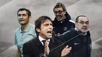 Antonio Conte, Laurent Blanc, Maurizio Sarri dan Ernesto Valverde. (Bola.com/Dody Iryawan)