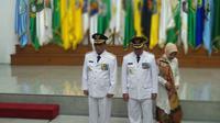 Bupati Tulungagung terpilih hasil Pilkada 2018 Syahri Mulyo hadir dalam pelantikannya.