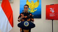 Menhub Budi Karya menyampaikan sambutan dalam Indonesia Smart Airport Forum 2021 (ISAF 2021), Rabu (18/8/2021) (dok: Tira)