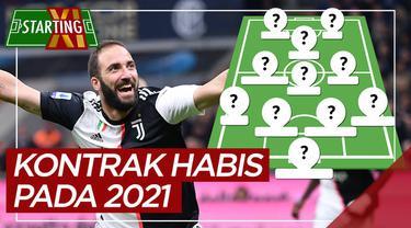 Berita motion grafis Starting XI pemain Serie A yang kontraknya habis pada 2021, di antaranya pemain Juventus.
