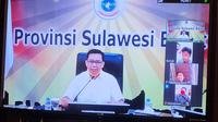 Juru Bicara Gugus Tugas Penanganan Covid-19 Sulawesi Barat Safaruddin Sanusi saat video conference
