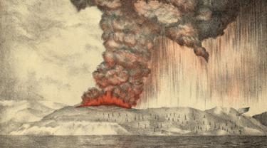 Ilustrasi letusan Gunung Krakatau pada 1883
