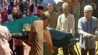 Bukan keranda, jenazah Mbah Suparni seorang nenek 80 tahun warga Desa Cokrowati, Blora, dibawa menggunakan sepeda ontel. (Liputan6.com/ Ahmad Adirin)