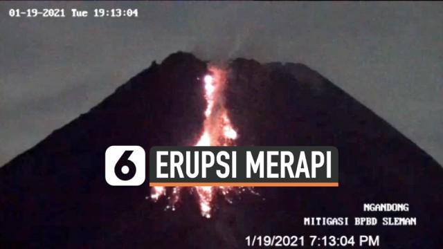 Aktivitas Gunung Merapi terekam kamera pemantau hari Selasa (19/1) malam. Puncak Merapi beberapa kali muntahkan lava pijar dan awan panas.