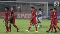 Pemain Timnas Indonesia U-19 usai melawan Timor Leste pada laga kualifikasi Grup K Piala AFC U-19 2020 di Stadion Madya Gelora Bung Karno, Jakarta, Rabu (6/11/2019). Indonesia unggul 3-1. (Liputan6.com/Helmi Fithriansyah)