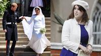 Sama-sama menjadi cucu keluarga kerajaan, namun ada yang berbeda dengan penikahan Putri Eugenie jika dibandingkan dengan pernikahan Pangerna Harry dan Meghan Markle. (AFP/Ben STANSALL/ALASTAIR GRANT)