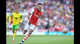 Gol Aubameyang tersebut membawa Arsenal keluar dari penderitaannya. Pasalnya, The Gunners menelan tiga kekalahan beruntun pada awal Liga Inggris musim ini. (Foto: AFP/Daniel Leal-Olivas)