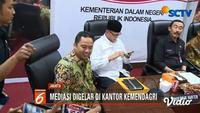 Mediasi antara Wali Kota Tangerang dan Menkumham di Kantor Mendagri, berjalan tertutup. Wali Kota Tangerang dan Menkumham tengah berseteru terkait sengketa lahan.