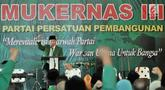 Ketua Umum PPP Muktamar Jakarta Humphrey Djemat memberi sambutan saat membuka Mukernas III PPP Muktamar Jakarta di Kantor DPP PPP, Menteng, Kamis (15/11). Mukernas mengagendakan pengukuhan Humphrey Djemat sebagai ketua umum. (Merdeka.com/Iqbal Nugroho)