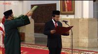 Dian Ediana Rae membacakan sumpah jabatan sebagai Kepala Pusat Pelaporan Analisis Transaksi Keuangan (PPATK) yang baru menggantikan Kiagus Ahmad Badaruddin di Istana Negara, Jakarta, Rabu (6/5/2020) pagi. (Ist)