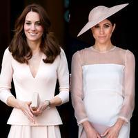 Kate Middleton dan Meghan Markle kembali kembar dalam balutan warna pink pucat. Mana yang jadi favorite kamu? (Getty Images/Cosmopolitan)