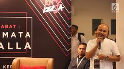 Inisator Afifuddin Suhaeli Kalla memberi sambutan pada acara dialog komunitas Kamis Kerja, Jakarta, Kamis (21/3). Dialog tersebut untuk mengenal sosok Jokowi dari kaca mata seorang JK yang telah mendampinginya 5 tahun terakhir. (Liputan6.com/Fery Pradolo)