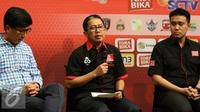 Direktur Utama PT Gelora Trisula Semesta, Joko Driyono memberikan keterangan kepada wartawan saat press conference Torabika Soccer Championship di Main Hall SCTV, Jakarta, Rabu (21/12). (Liputan6.com/Gempur M. Surya)
