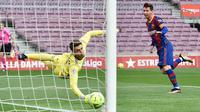 Striker Barcelona, Lionel Messi, mencetak gol ke gawang Celta Vigo pada laga Liga Spanyol di Stadion Camp Nou, Minggu (16/5/2021). Barca takluk dengan skor 1-2. (AFP/Pau Barrena)