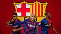 Barcelona - Martin Braithwaite, Luis Suarez dan Samuel Eto'o (Bola.com/Adreanus Titus)