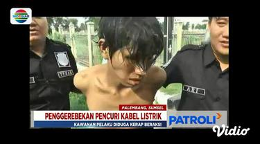 Polisi tangkap satu dari tiga pelaku pencurian kabel listrik di bawah jembatan kawasan Jakabaring Sprot City, Palembang.