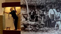 Seorang pekerja membersihkan etalase yang memajang rencong jelang pameran persenjataan tradisional di Museum Aceh, Banda Aceh, Aceh, Jumat (15/10/2021). Senjata yang dipamerkan mulai dari siwaih, rencong, keris, pedang, tombak, meriam, perisai dan masih banyak lainnya. (CHAIDEER MAHYUDDIN/AFP)