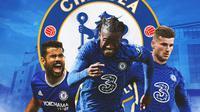 Chelsea - Diego Costa, Michy Batshuayi, Timo Werner (Bola.com/Adreanus Titus)