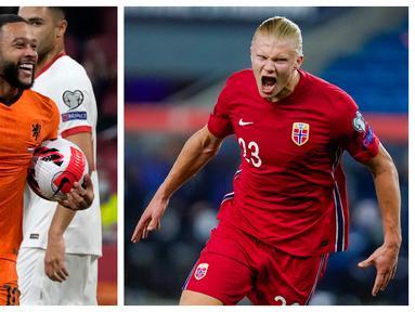 Penyerang Belanda, Memphis Depay (kiri) dan Penyerang Norwegia, Erling Haaland menjadi pemain paling berkontribusi pada laga lanjutan kualifikasi Piala Dunia 2022 zona Eropa. Mereka sama-sama menciptakan hattrick pada laga tersebut. (Foto Kolase: AP/Peter Dejong dan NTB via AP/Hakon Mosvold Larsen)