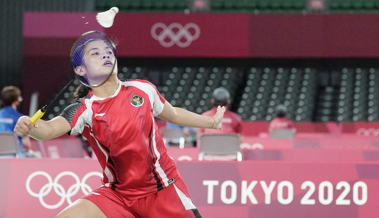 Pebulutangkis tunggal putri Indonesia, Gregoria Mariska Tunjung, melakoni debut sempurna saat tampil pada fase grup bulu tangkis Olimpiade Tokyo 2020. (Foto: AP/Markus Schreiber)