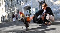 Seorang pengacara memegang ayam jantan di depan pengadilan tinggi (Tribunal de Grande Instance) di Rochefort, Prancis barat, Kamis (4/7/2019). Ayam tersebut dituduh menghasilkan polusi suara oleh sepasang pensiunan yang memiliki rumah liburan di sebuah desa di Perancis. (Photo by XAVIER LEOTY / AFP)