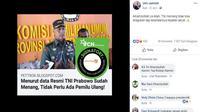 [Cek Fakta] Gambar Tangkapan Layar Klaim TNI Atas Kemenangan Prabowo