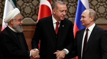 Keakraban Erdogan, Putin, Rouhani Saat Bahas Perdamaian Suriah
