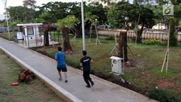 Warga melintas di samping pohon-pohon Sudirman yang dipindah ke kawasan RTH Kalijodo, Jakarta Utara, Kamis (15/3). Sebanyak delapan pohon jenis mahoni di Sudirman telah dipindahkan ke Taman Kalijodo. (Liputan6.com/Arya Manggala)