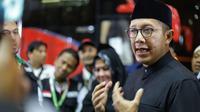 Menteri Agama (Menag) Lukman Hakim Saifuddin melepas jemaah haji kelompok terbang (kloter) 1 JKS di Makkah. Bahauddin/MCH