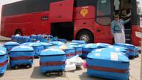 Jemaah haji Indonesia kumpulkan bantuan untuk korban gempa Lombok. (www.haji.kemenag.go.id)