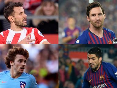 Lionel Messi semakin memperkokoh posisinya di puncak raihan pencetak gol terbanyak La Liga Spanyol. Kini penyerang Argentina tersebut berselisih sembilan gol dari Luis Suarez di peringkat kedua. (Kolase Foto AFP)