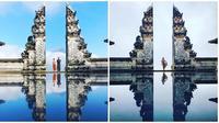 Hasil gambar ilusi air di depan gerbang surga, Pura Lempuyangan, Bali (Sumber: Twitter/polina_marinova)