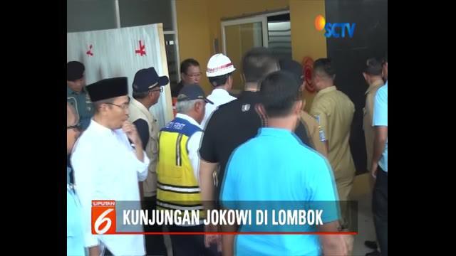 Presiden pun memantau langsung ke kelas darurat SMPN 6 Mataram, sekolah terdampak gempa terparah.