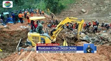 Memasuki hari ketujuh yang ditetapkan sebagai masa tanggap darurat bencana, operasi pencarian korban longsor terus dilanjutkan.