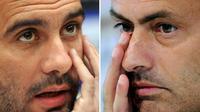 Manajer Manchester City Josep Guardiola (kiri) dan manajer Manchester United Jose Mourinho (kanan). (AFP/Sergei Supinsky dan Javier Soriano)