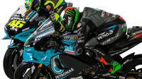 Duet pembalap Petronas Yamaha SRT, Valentino Rossi (kiri) dan Franco Morbidelli. (Twitter/Petronas Yamaha SRT)